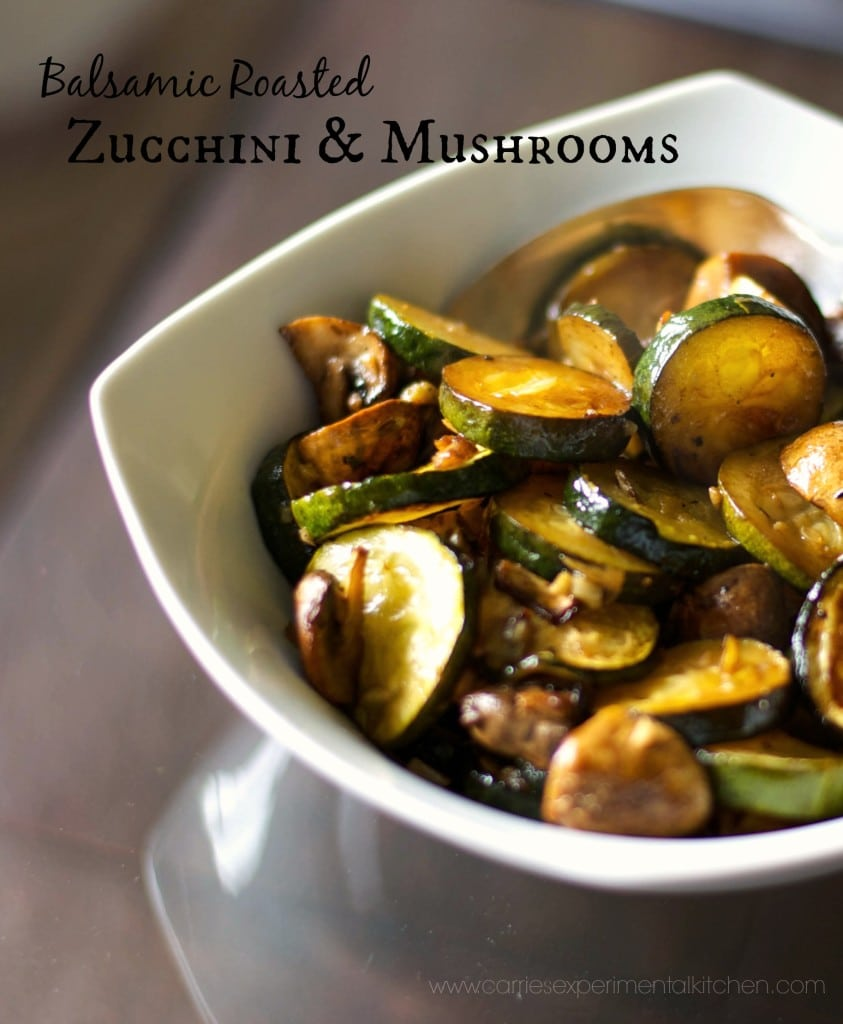 Fresh garden zucchini, mushrooms and garlic roasted with balsamic vinegar and extra virgin olive oil until golden brown.