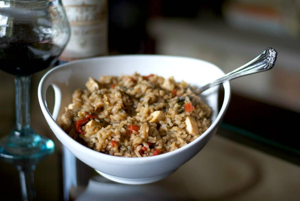 Balsamic Risotto with Grilled Chicken, Fresh Spinach & Sun Dried Tomatoes