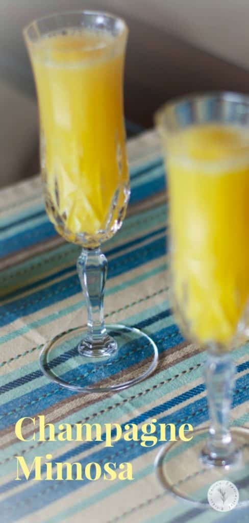 Bubbly champagne and orange juice make up this simple Mimosa cocktail perfect for weekend brunch or holiday family gatherings.