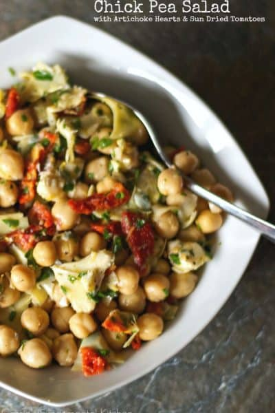Chick Pea Salad with Artichokes and Sun Dried Tomatoes | Carrie's Experimental Kitchen
