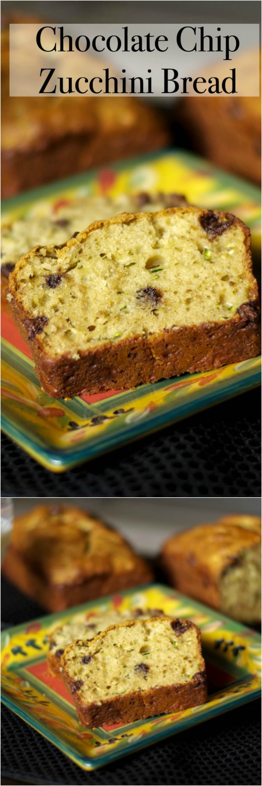 This version of Chocolate Chip Zucchini Bread is lightened up a bit with Greek yogurt and applesauce, but it's loaded with flavor. #zucchini #bread #loafbread #dessert #breakfast