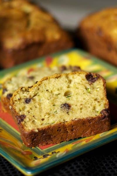 This version of Chocolate Chip Zucchini Bread is lightened up a bit with Greek yogurt and applesauce, but it's loaded with flavor.