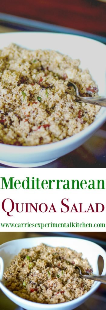 Mediterranean Quinoa Salad made with Kalamata olives, sun dried tomatoes and Feta cheese in a balsamic vinaigrette is a tasty salad that is loaded with flavor.