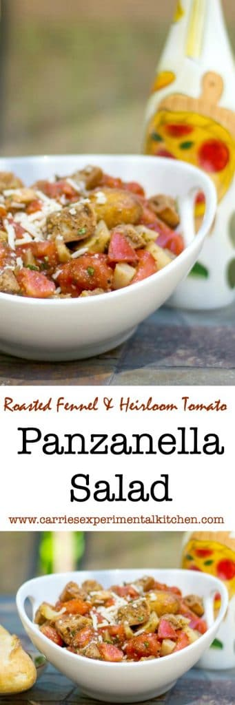 Roasted Fennel and Heirloom Tomato Panzanella Salad made with crusty Italian bread, roasted fennel and Heirloom tomatoes in a Balsamic Vinaigrette.