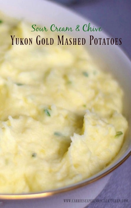 Sour Cream & Chive Yukon Gold Mashed Potatoes are easy enough to make for a busy weeknight, yet different enough for a holiday or special occasion.