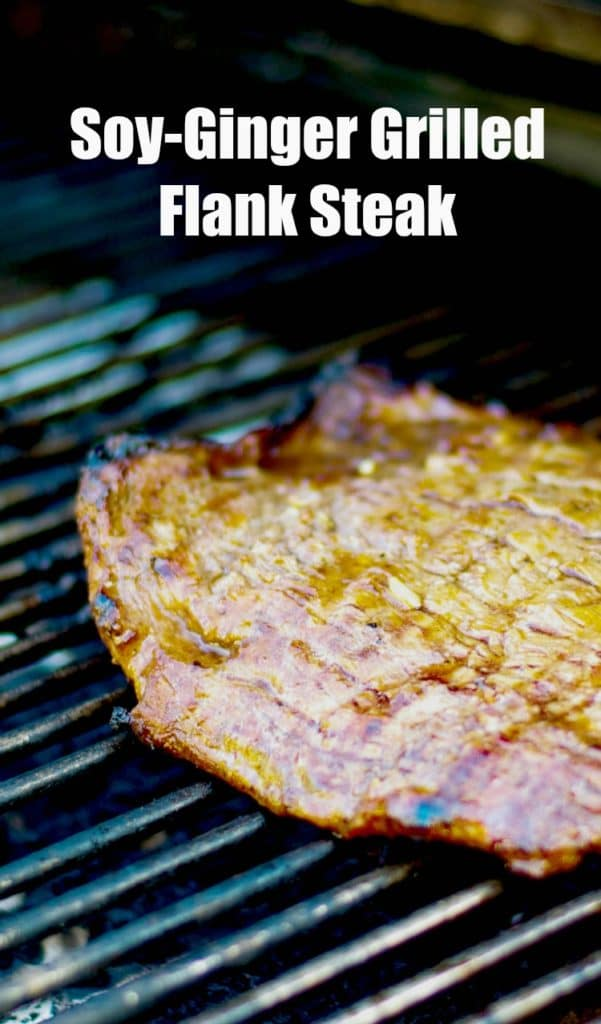 Flank steak marinated in fresh ginger, ginger, soy sauce, and brown sugar; then grilled to perfection. A must-try on your summer grilling list.