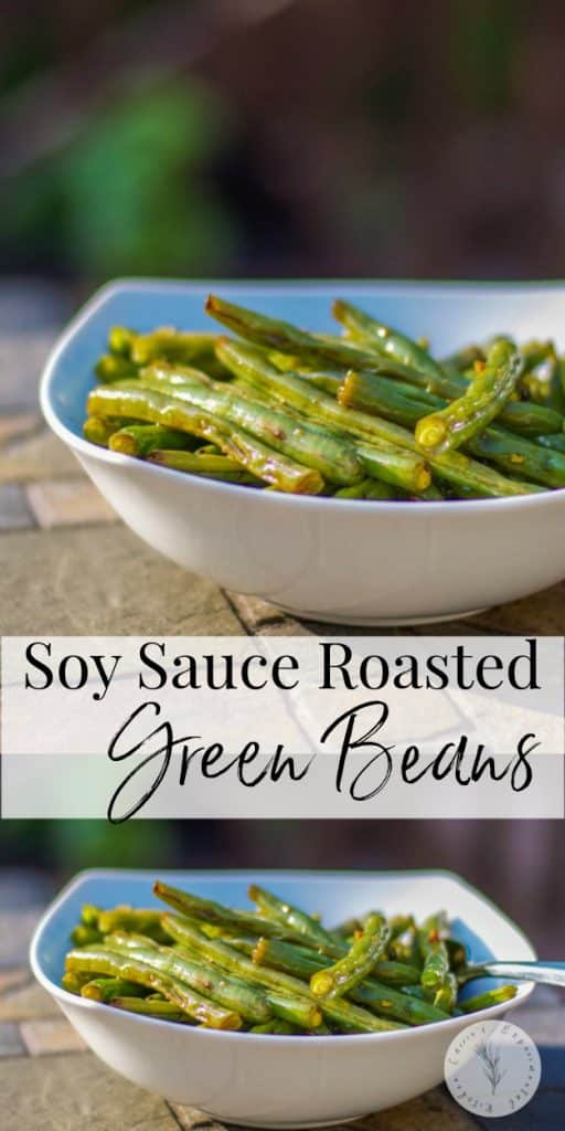 Fresh green beans tossed with fresh garlic, soy sauce and a light oil; then roasted until tender make a delicious side dish to any Asian style meal.