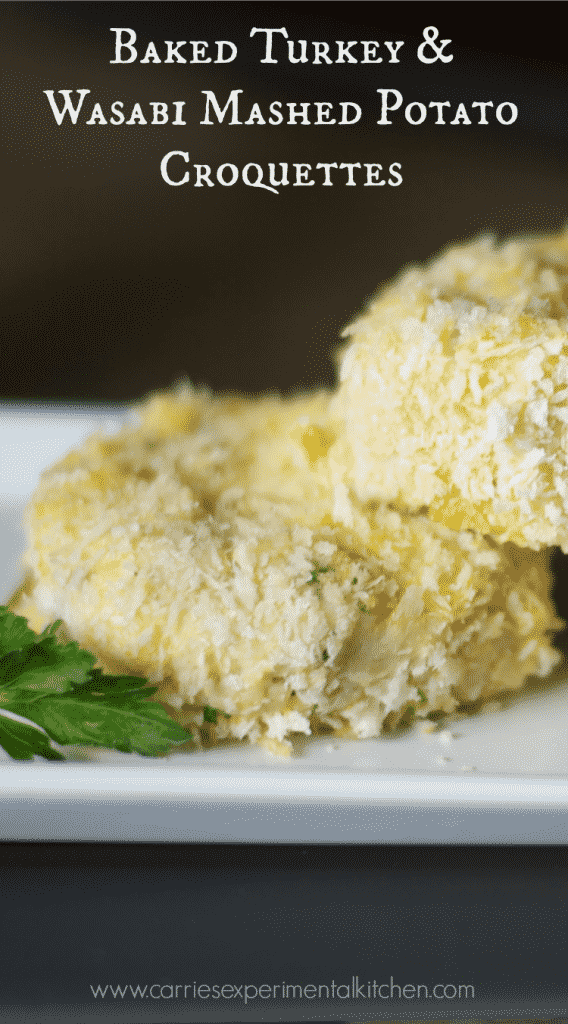 Turkey & Wasabi Mashed Potato Croquettes | Turn leftover Thanksgiving turkey into a new meal with a slight kick with these Turkey & Wasabi Mashed Potato Croquettes.