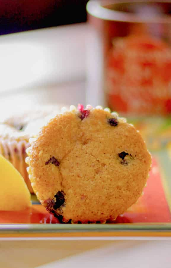 These muffins made with almond and bread flours, brown sugar, oil, blueberries and lemon are delicious and make a tasty breakfast or afternoon snack.