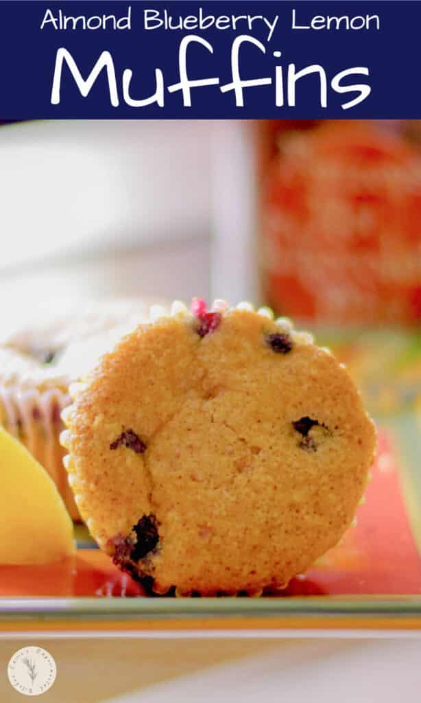 These muffins made with almond and bread flours, brown sugar, oil, blueberries and lemon are delicious and make a tasty breakfast.