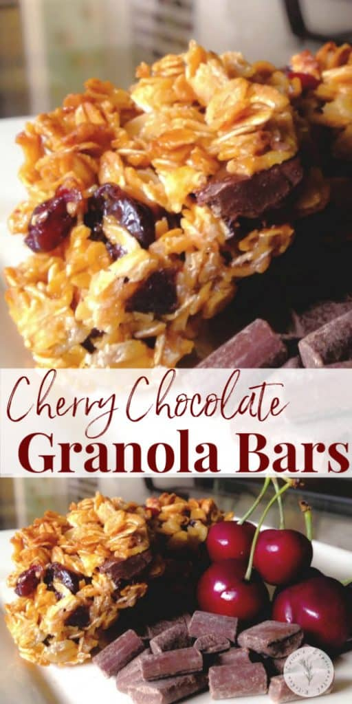 Cherry Chocolate Granola Bars made with old fashioned oats, dried cherries, honey and chocolate chips make the perfect breakfast or afternoon snack.