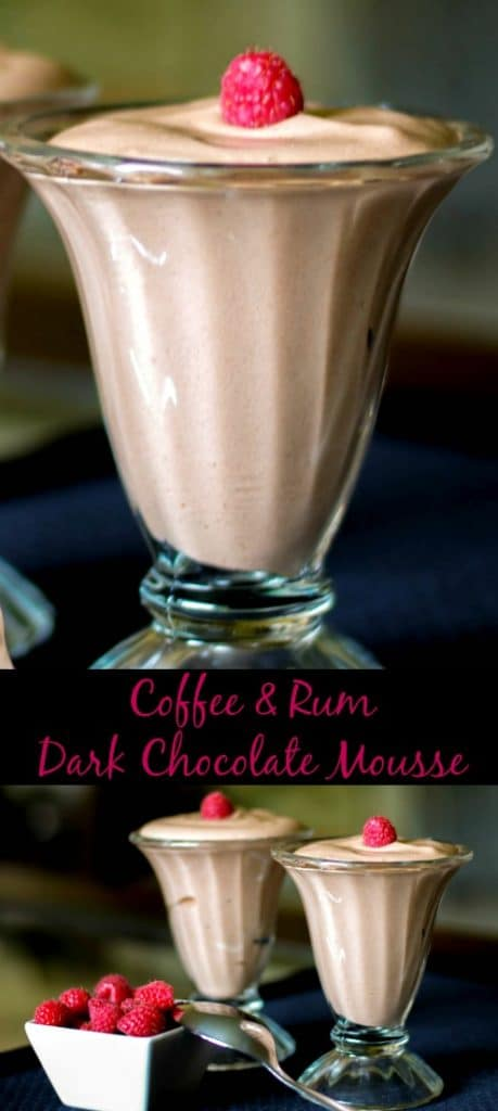 Coffee & Rum Dark Chocolate Mousse made with dark chocolate, fat free half and half, eggs and rum extract is decadently delicious.