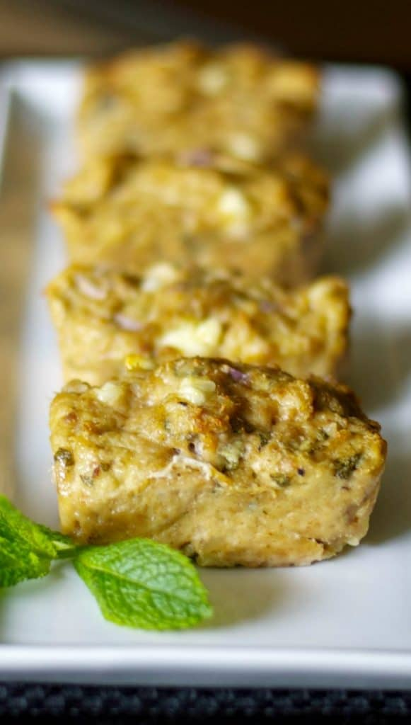 Feta and Sage Mini Chicken Meatloaf made with ground chicken, fresh sage, onions and Feta cheese is a deliciously healthy, simple weeknight meal.