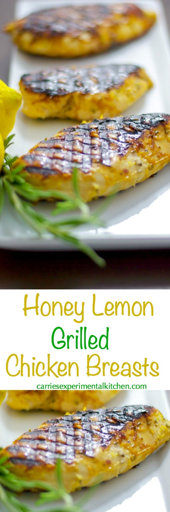 Boneless chicken breasts marinated in a combination of honey, lemon juice and rosemary; then grilled is a healthy, low fat delicious weeknight meal.#grilling #chicken #honey #lemon #lowfat #healthy