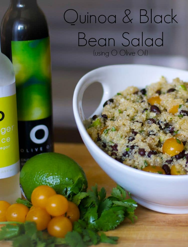 Quinoa Salad with Black Beans and Golden Sunburst Tomatoes in a Tahitian Lime Olive Oil and Ginger Rice Vinaigrette.