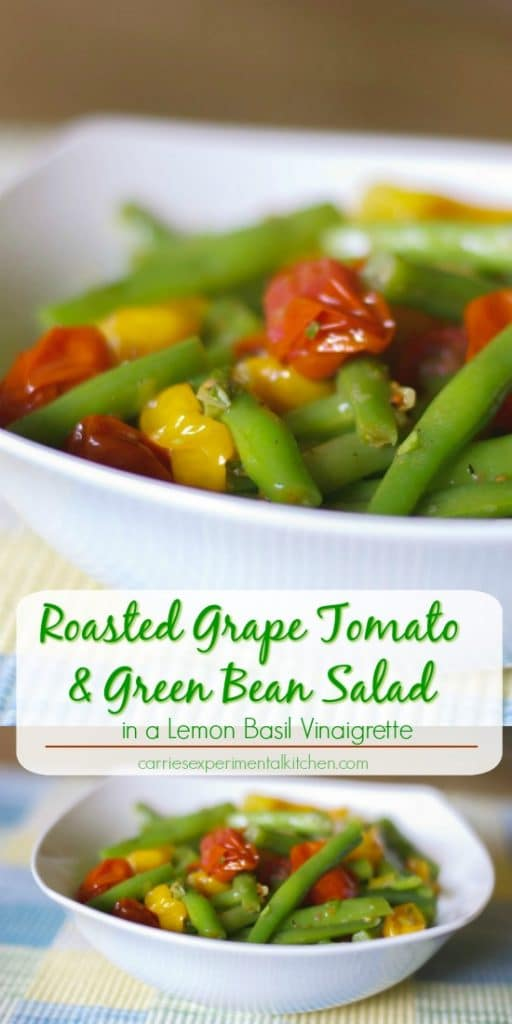 Roasted Grape Tomato and Green Bean Salad tossed with red and green tomatoes, leeks and garlic in a light Lemon Basil Vinaigrette.