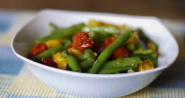 Roasted Grape Tomato & Green Bean Salad in a Lemon Basil Vinaigrette