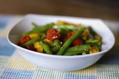 Roasted Grape Tomato Green Bean Salad
