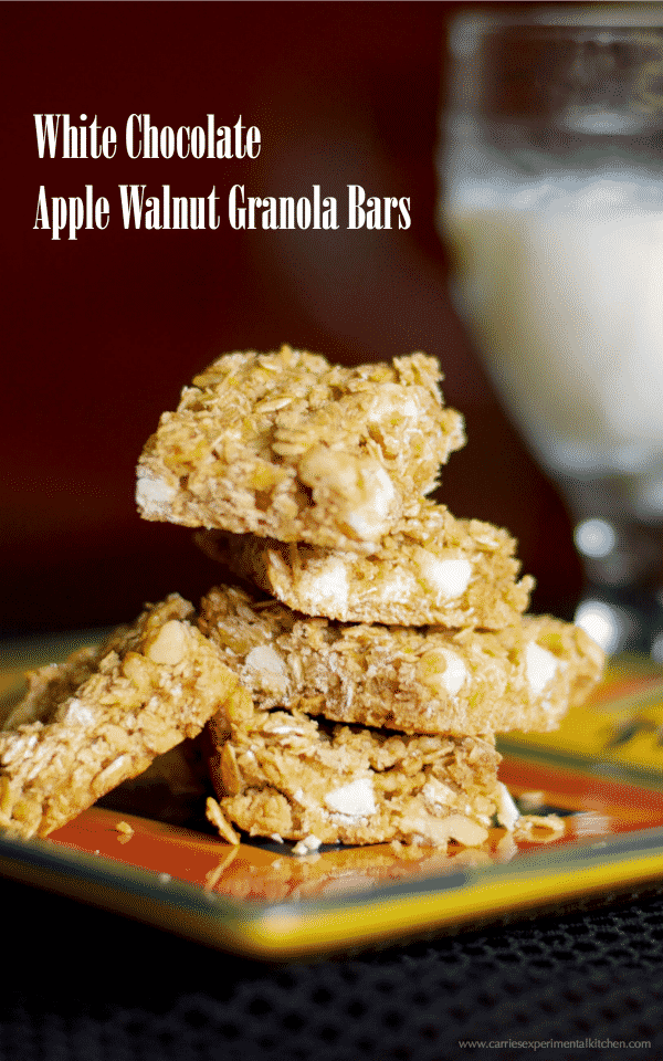 These White Chocolate Apple Walnut Granola Bars make a tasty afternoon snack or on the go breakfast when you're craving something a little sweet.