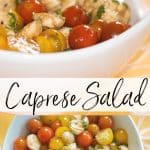 Nothing tastes better during summer picnics than this Caprese Salad made with fresh Ciliegine mozzarella combined with garden tomatoes and basil.