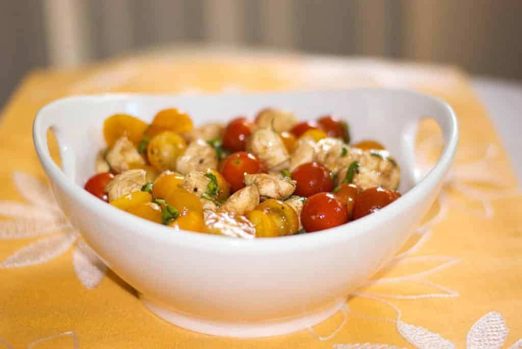 Caprese Salad in white bowl