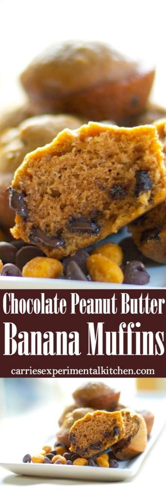 Chocolate, peanut butter and bananas combined into a flavorful, decadent muffin. Eat them for breakfast or an afternoon snack!