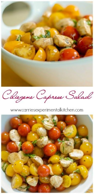 Nothing tastes better during summer picnics than this salad made with fresh Ciliegine mozzarella combined with garden tomatoes and basil. #tomatoes #salad #mozzarella