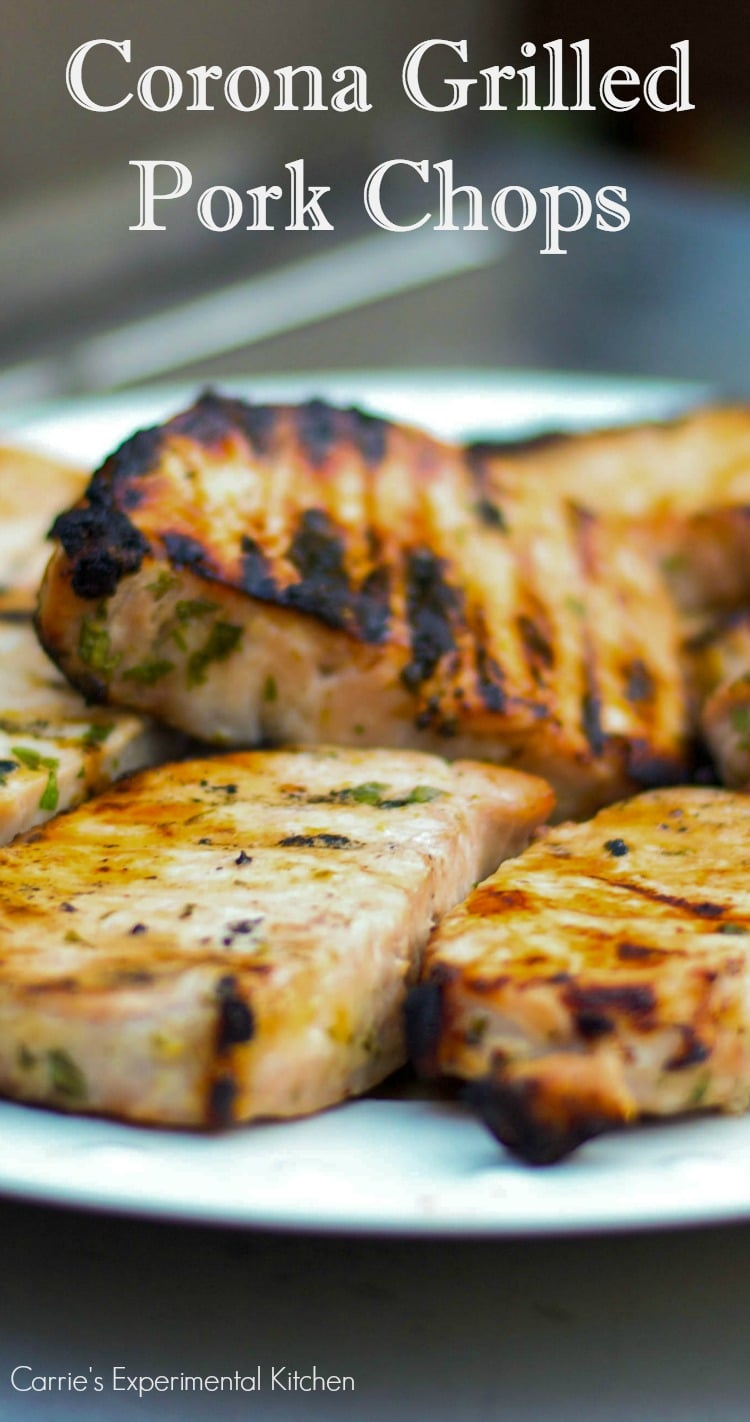 Corona Grilled Pork Chops | Carrie's Experimental Kitchen #pork Pork chops marinated in a brine of Corona beer, fresh lime juice and cilantro then grilled to perfection.