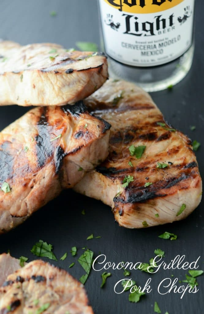 Center cut boneless pork chops marinated in a brine of Corona beer, fresh lime juice and cilantro; then grilled to perfection.