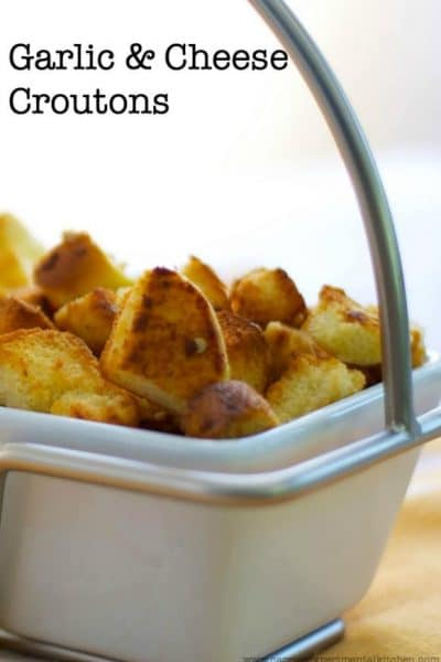 Utilize leftover hamburger and hot dog rolls from your weekend summer barbecues into these Garlic & Cheese Croutons that go perfectly on top of garden salads.