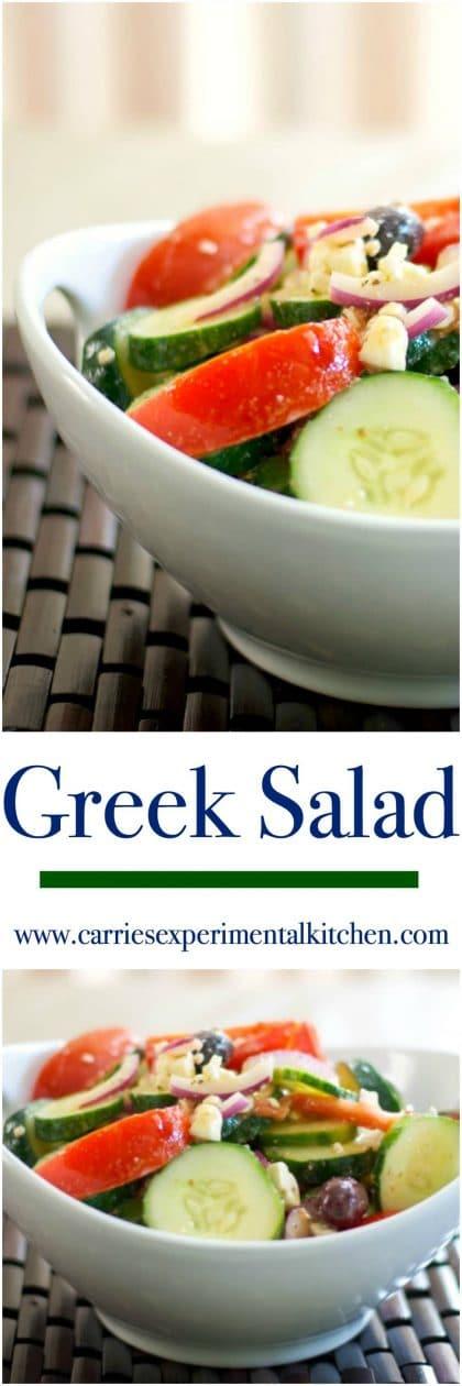 Fresh Jersey tomatoes, crisp English cucumbers, Kalamata olives, red onion and Feta cheese make this tasty iconic Greek Salad. #salad #salads #greek #cucumbers #tomatoes #feta
