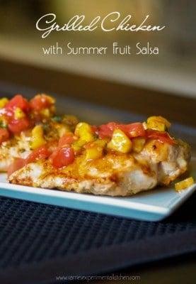 Grilled Chicken with Summer Fruit Salsa - CarriesExperimentalKitchen.com #chicken