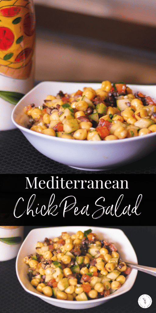 Mediterranean Chick Pea Salad made with capers, Kalamata olives, cucumbers, tomatoes and fresh basil in a balsamic vinaigrette.