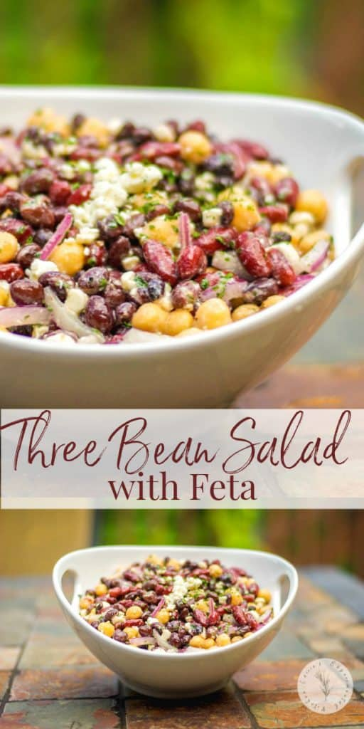 Kidney, black and garbanzo beans tossed with Feta cheese and a light, lemony Dijon vinaigrette make up this tasty Three Bean Salad with Feta.