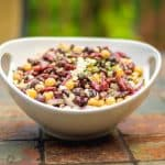 Three Bean Salad with Feta in Bowl