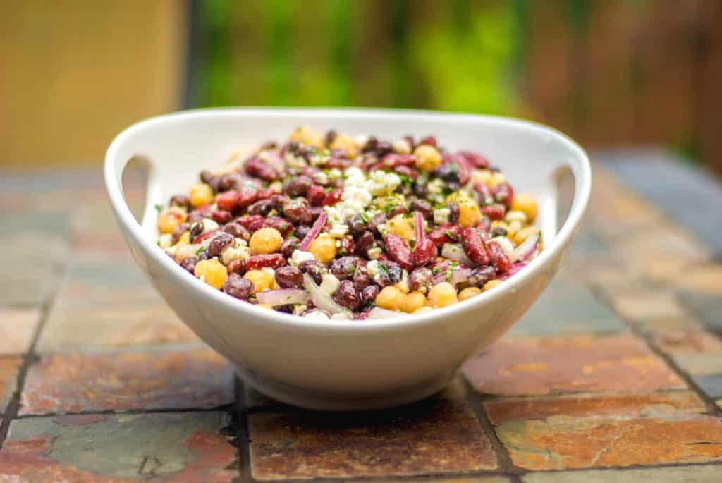 Three Bean Salad with Feta in Bowl