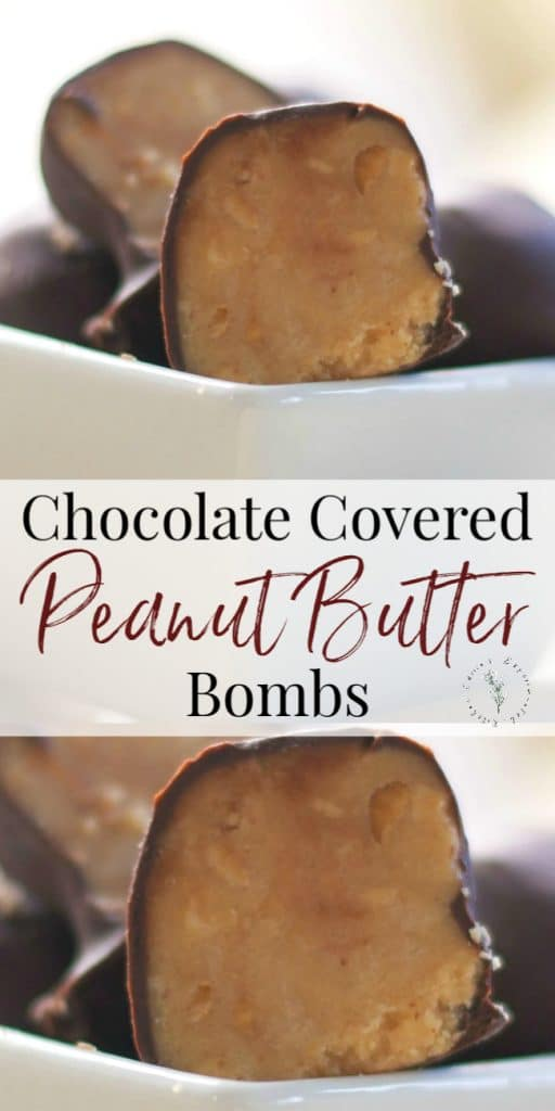 Chunky peanut butter coated in dark chocolate make these Chocolate Covered Peanut Butter Bombs the perfect flavor combination.