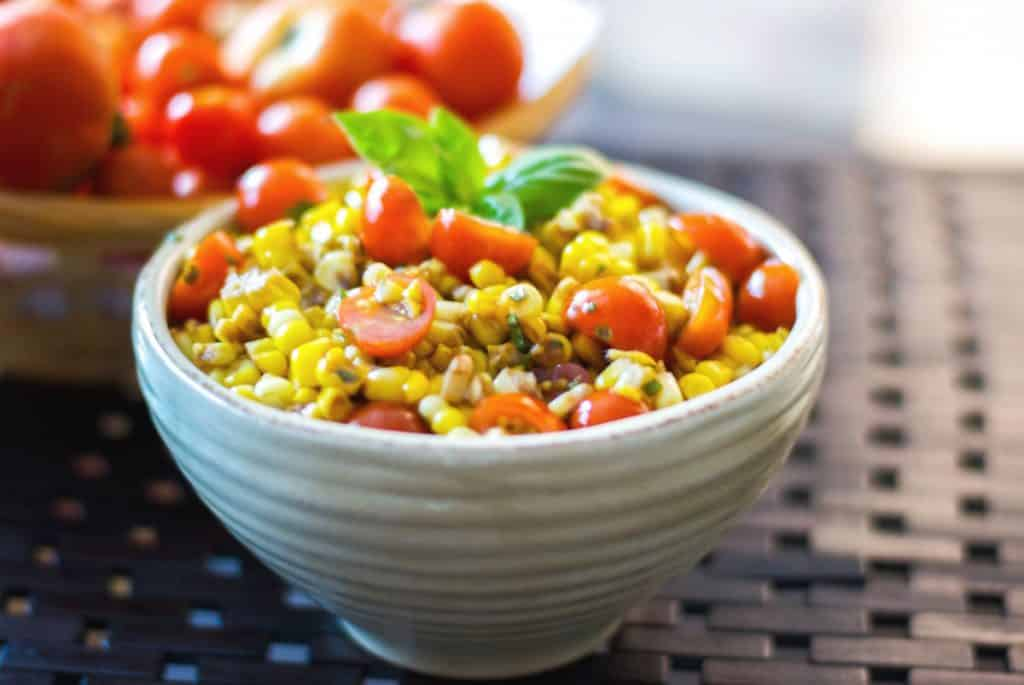 Corn and Tomato Salad in a bowl