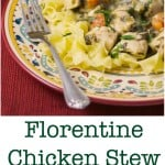 Florentine Chicken Stew made with boneless chicken breasts, celery, carrots and onions, spinach, white wine, chicken broth, Dijon mustard and cannellini beans. #stew #chicken