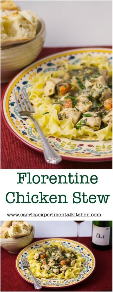 Florentine Chicken Stew made with boneless chicken breasts, celery, carrots and onions, spinach, white wine, chicken broth, Dijon mustard and cannellini beans.