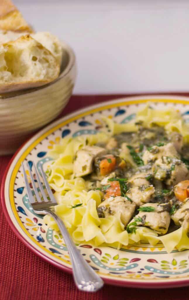 Florentine Chicken Stew over egg noodles