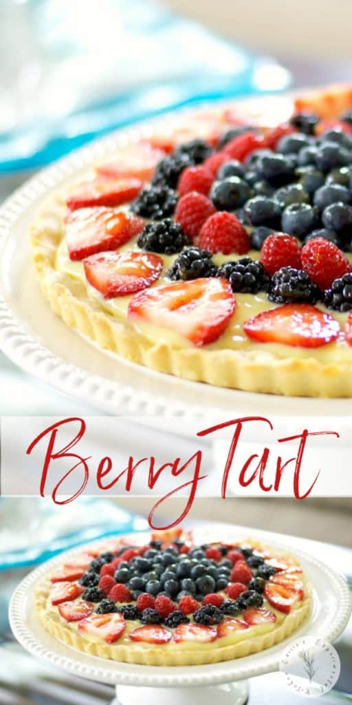 This Fresh Berry Tartmade with vanilla pudding and fresh berries on a cookie crust is deliciously cool, refreshing and so easy to make.