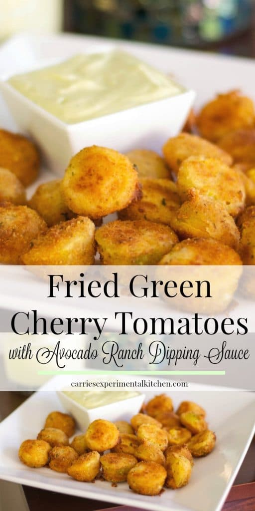 These little bites of Fried Green Cherry Tomatoes served with an Avocado Ranch Dipping Sauce are perfect to make when you have an abundance of cherry tomatoes at the end of the season.