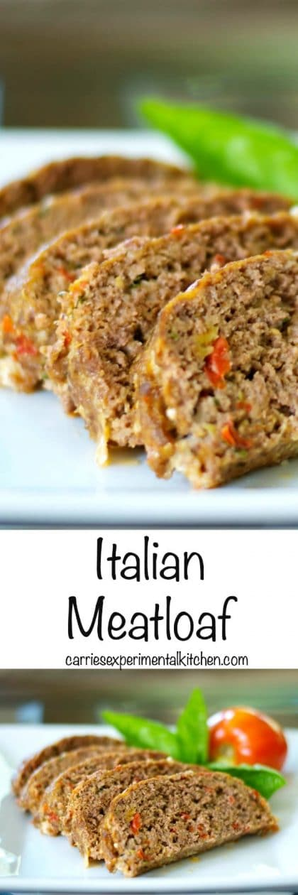 Italian Meatloaf made with lean ground beef, basil, garlic, tomatoes, Pecorino Romano grated cheese and Italian breadcrumbs. #beef #groundbeef #italian #meatloaf