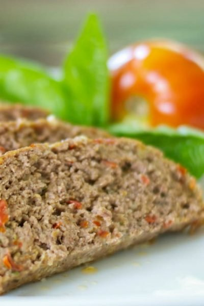 Italian Meatloaf made with lean ground beef, basil, garlic, tomatoes, Pecorino Romano grated cheese and Italian breadcrumbs.
