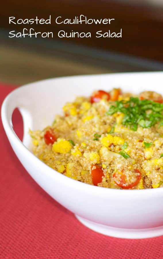 Quinoa salad made with roasted cauliflower, garlic, and saffron in a light balsamic vinaigrette is deliciously light and flavorful.