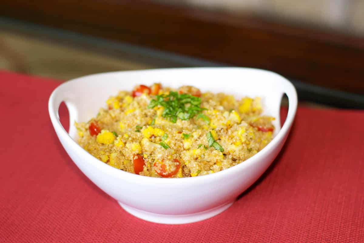 Roasted Cauliflower Saffron Quinoa Salad in a bowl,