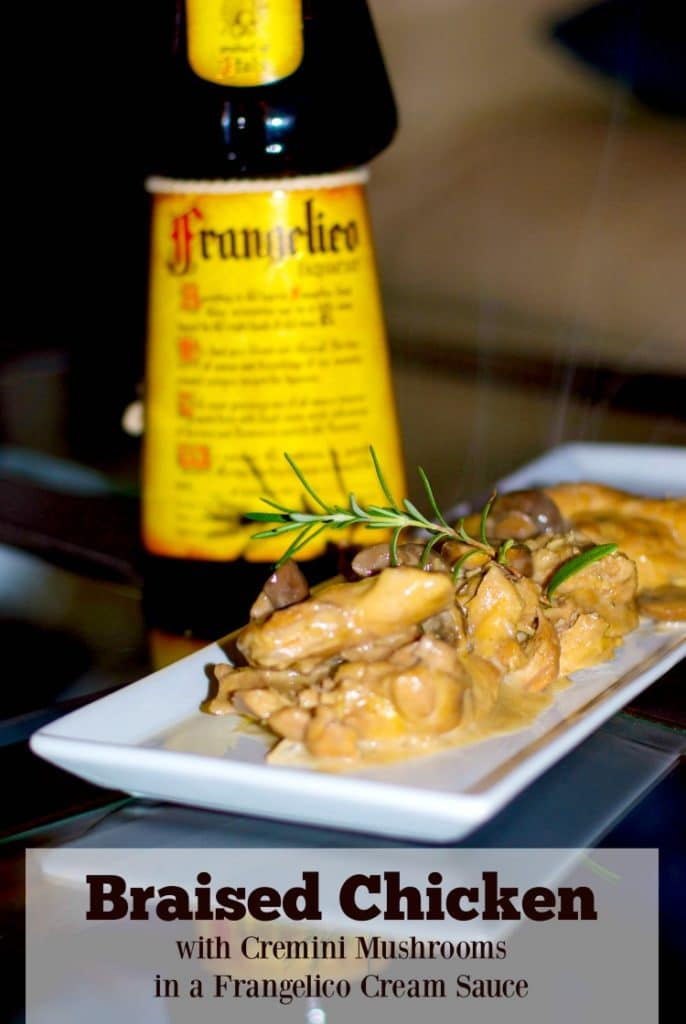Braised chicken thighs with Cremini mushrooms and fresh rosemary in a Frangelico, red wine cream sauce.