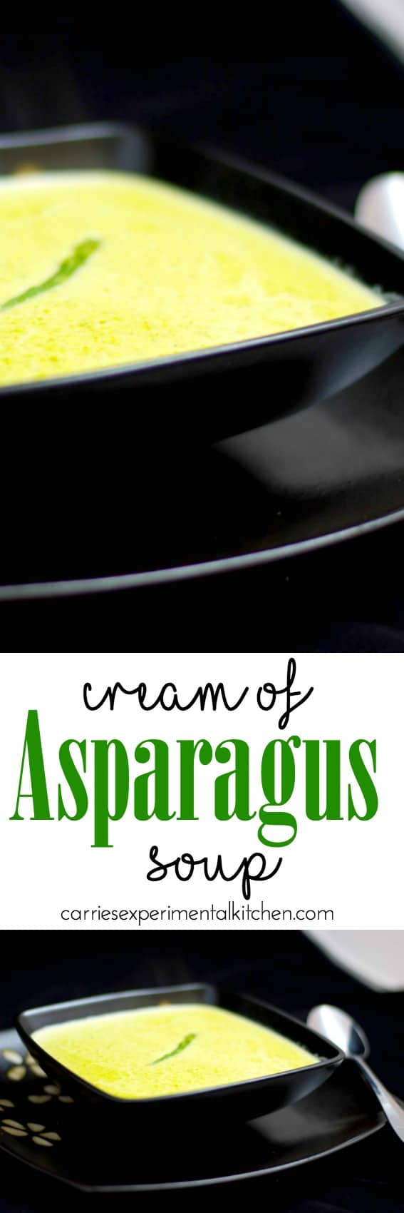 Cream of Asparagus Soup made with fresh green asparagus, milk and vegetable broth is a favorite way to utilize leftovers.#soup #asparagus #vegetarian