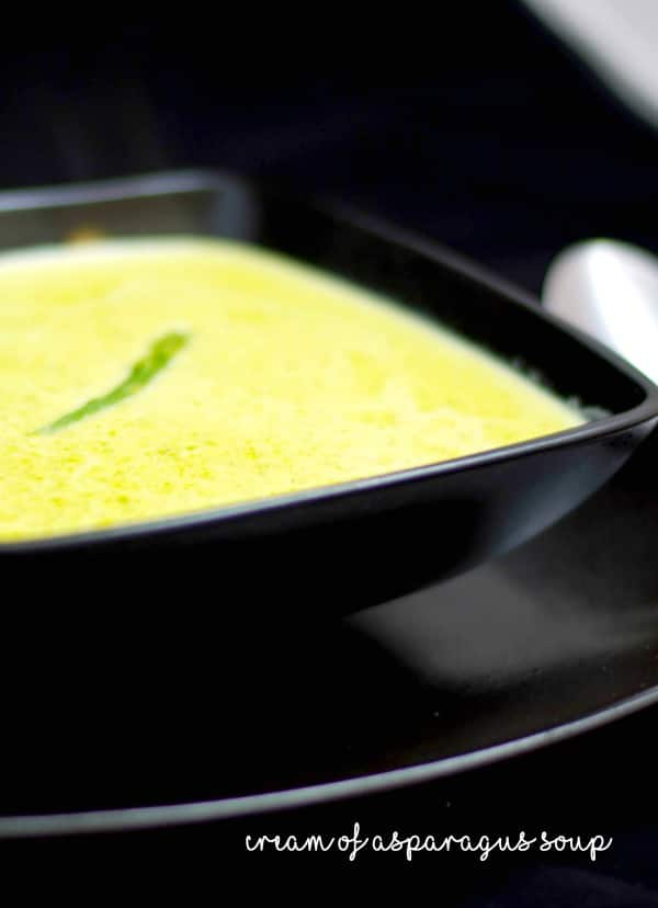 Cream of Asparagus Soup made with fresh green asparagus, milk and vegetable broth is a favorite way to utilize leftovers.